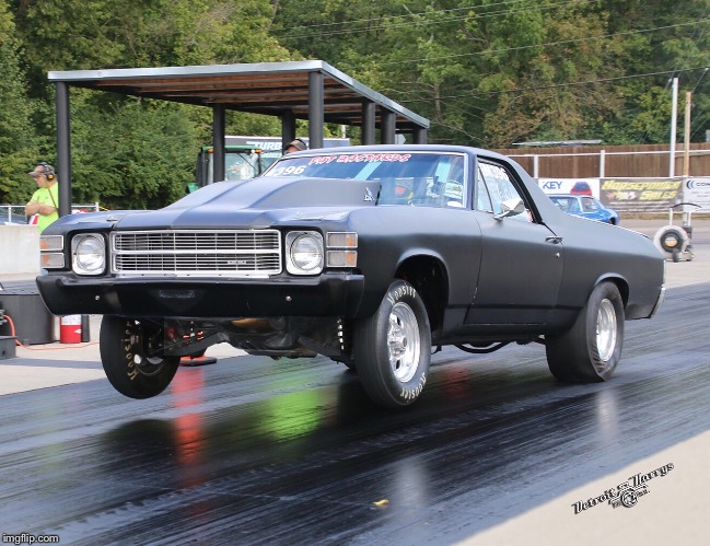 matte black 1971 chevrolet el camino on a racetrack
