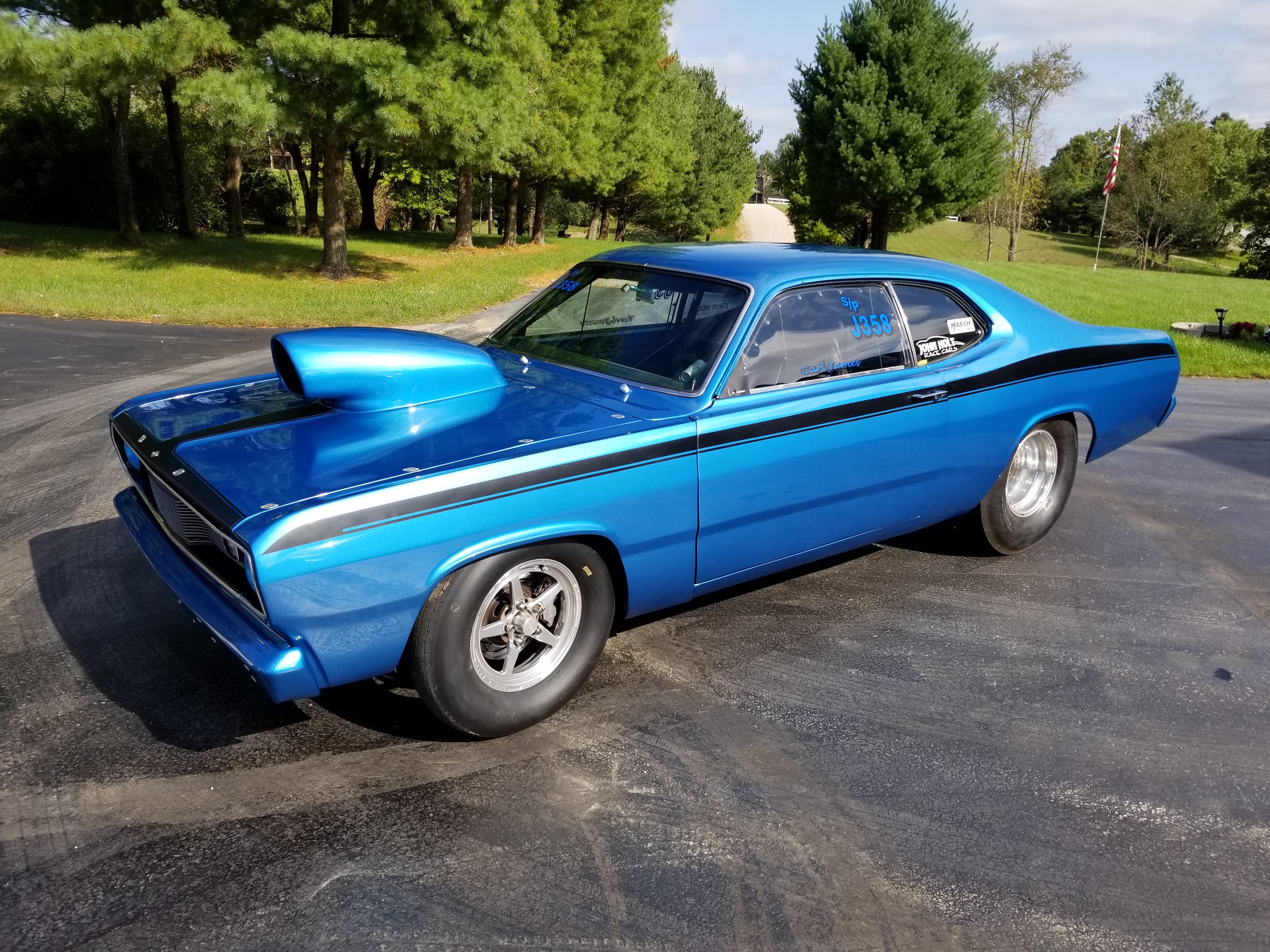 blue 1972 plymouth duster