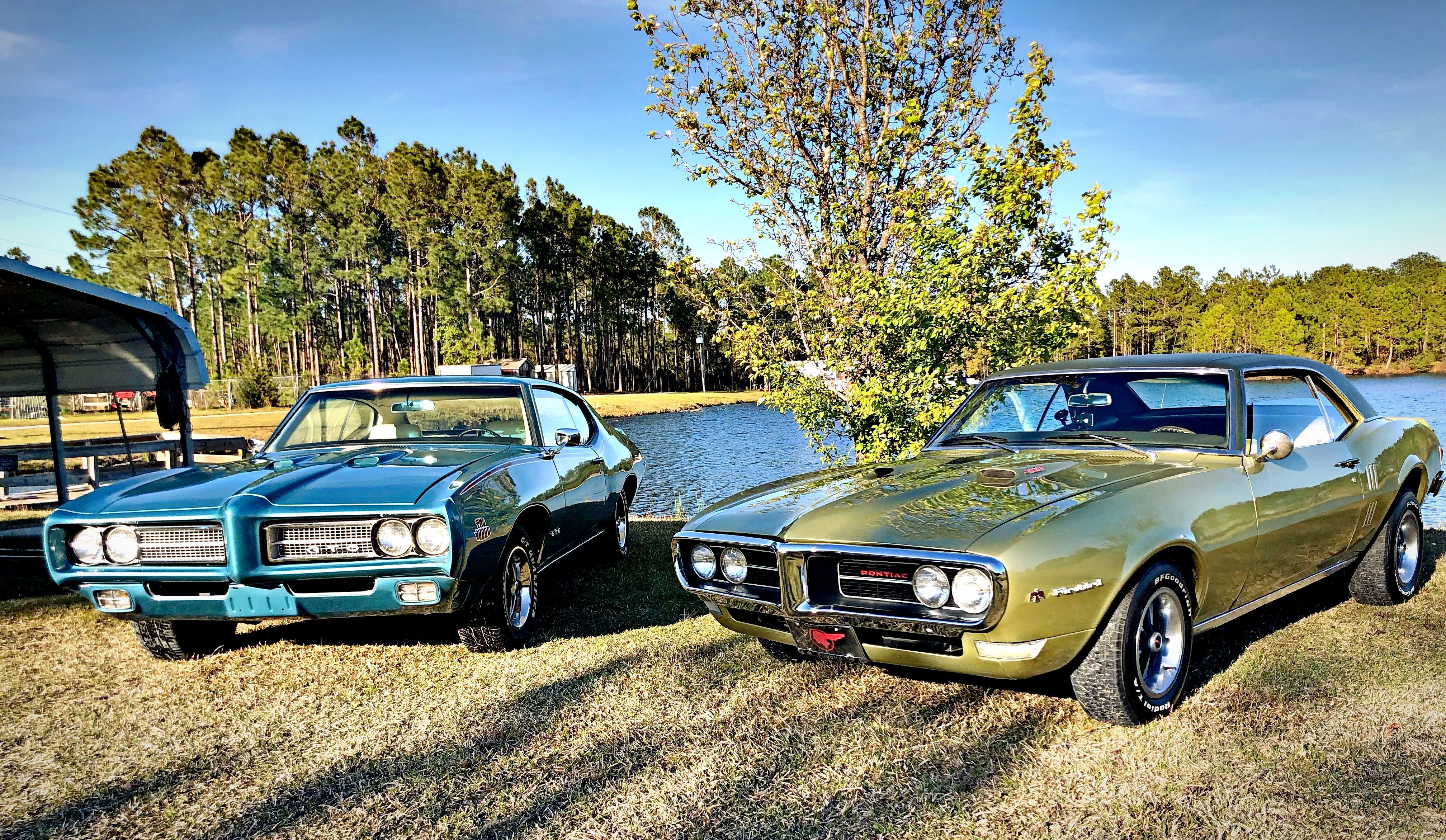 1968 Pontiac Firebird and 1969 Pontiac GTO