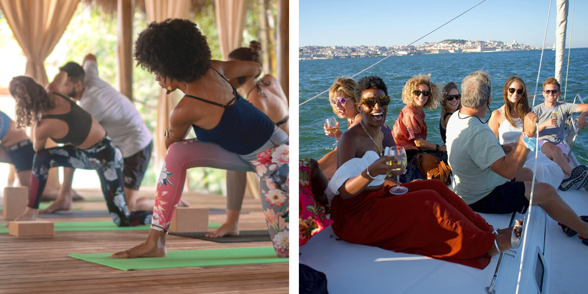 yoga and a boat