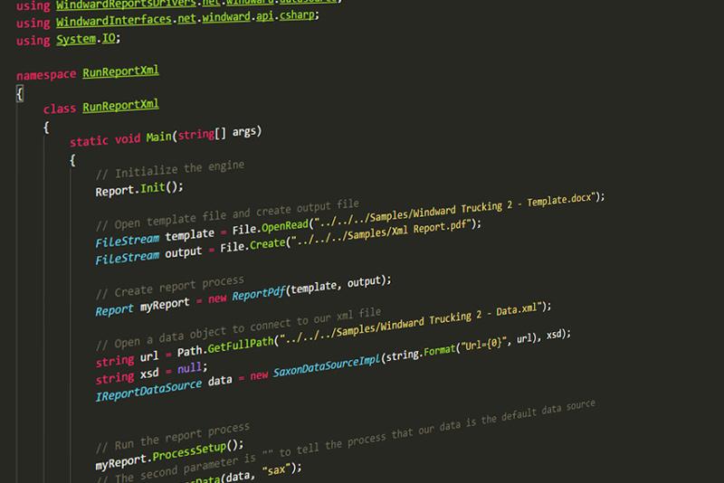windward report engine embedded code