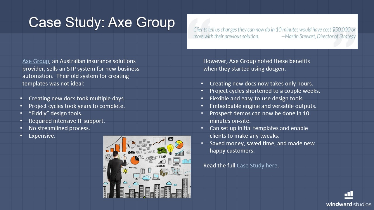 PPTX slide talking about the Axe Group's case study with Windward