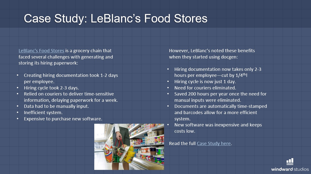 PPTX slide talking about LeBlanc's Food Stores case study with Windward