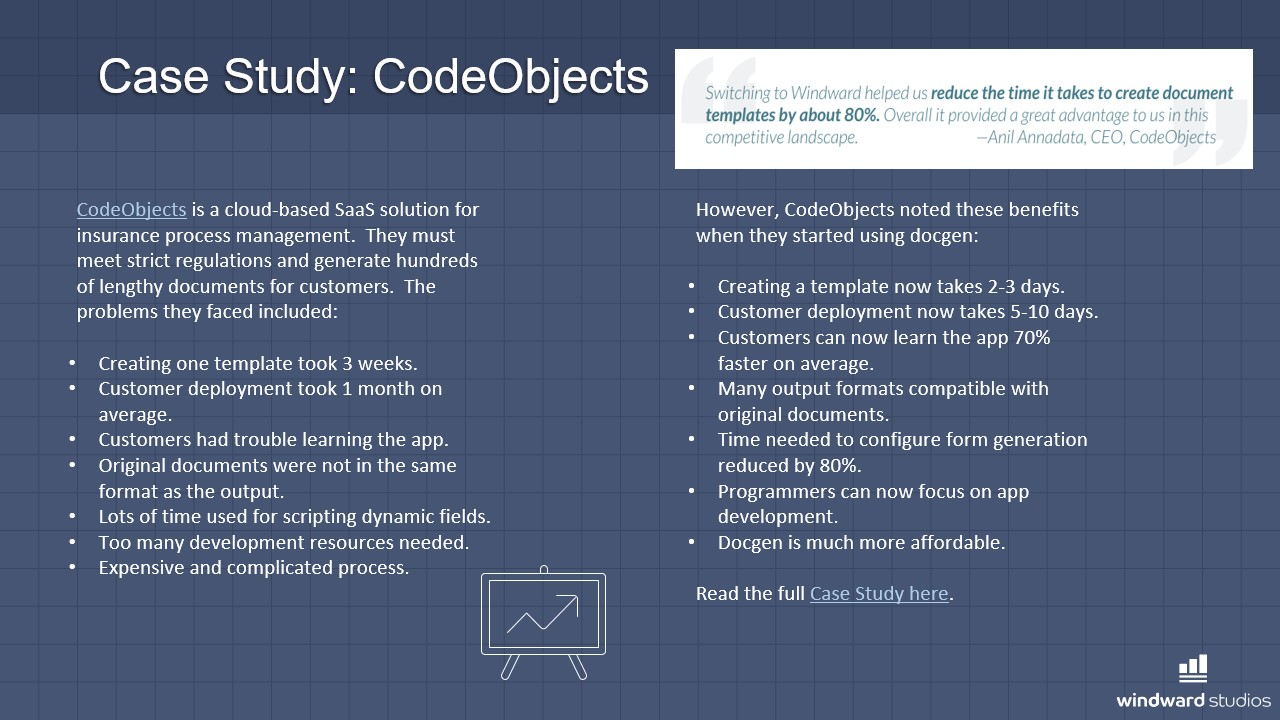 PPTX slide talking about CodeObject's case study with Windward