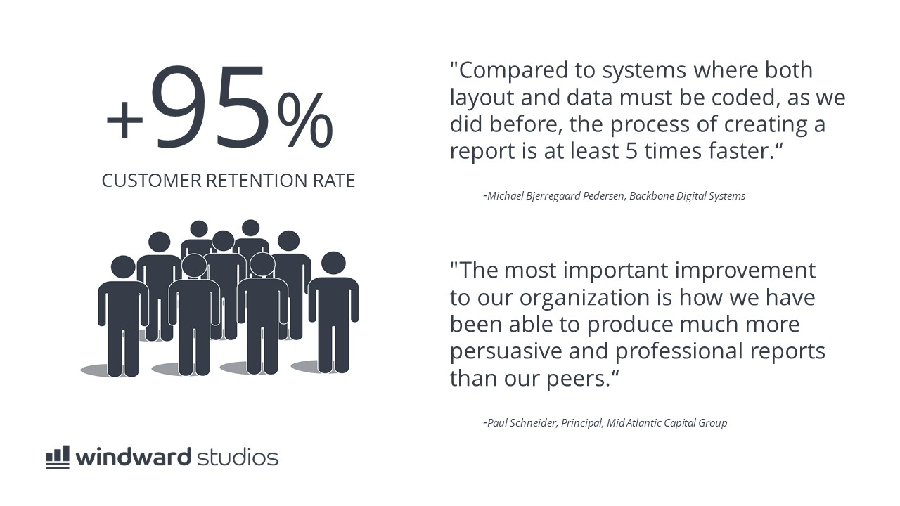 PPTX slide showing our 95% customer retention rate