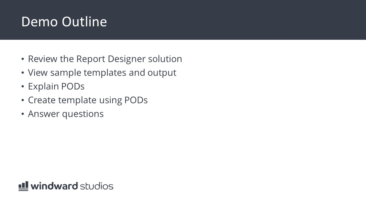 PPTX slide showing a demo outline