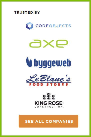 Companies that Windward is trusted by including CodeObjects, Axe, Byggeweb, LeBlanc's Food Stores and King Rose Construction