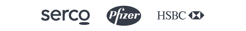 Customer logos: Serco, Pfizer, Fidelity, and HSBC