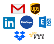 Graphic of logos for DocuSign, Gmail, LinkedIn, UPS, Microsoft Exchange, Dropbox, and Amazon RDS