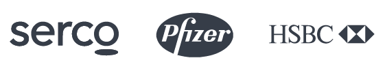 Customer logos: Serco, Pfizer, Fidelity, and HSBC.