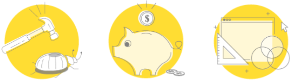 Graphic of a hammer hitting a bug, a piggy bank, and shapes