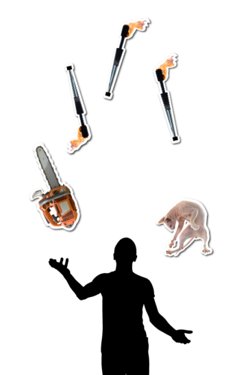 Silhouette of a person juggling a chainsaw, three torches, and a cat
