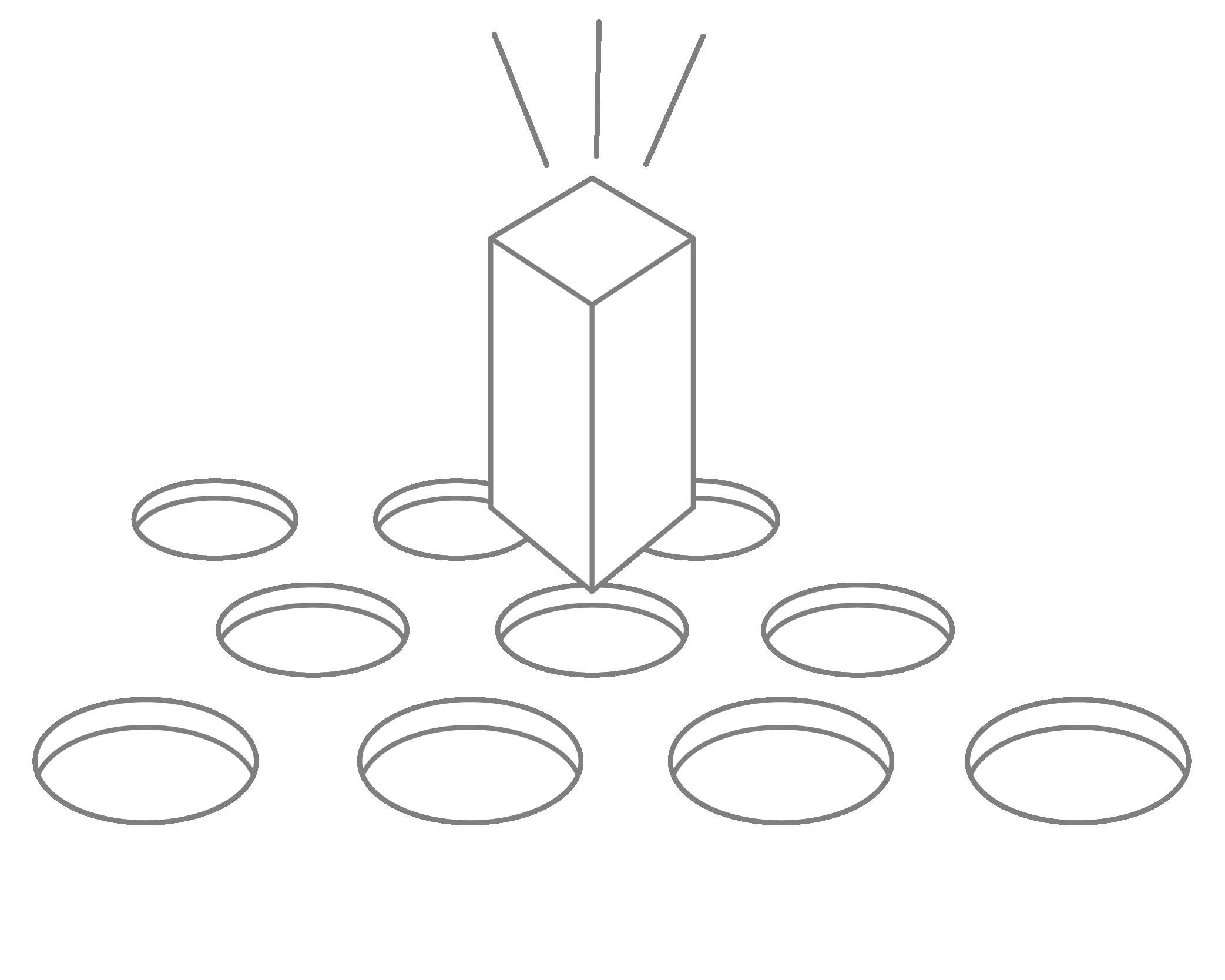 Circular holes with a rectangular shape above