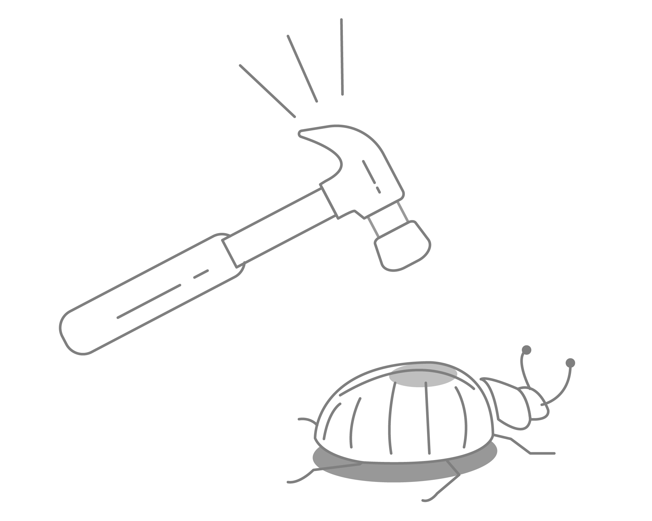 A hammer above a bug