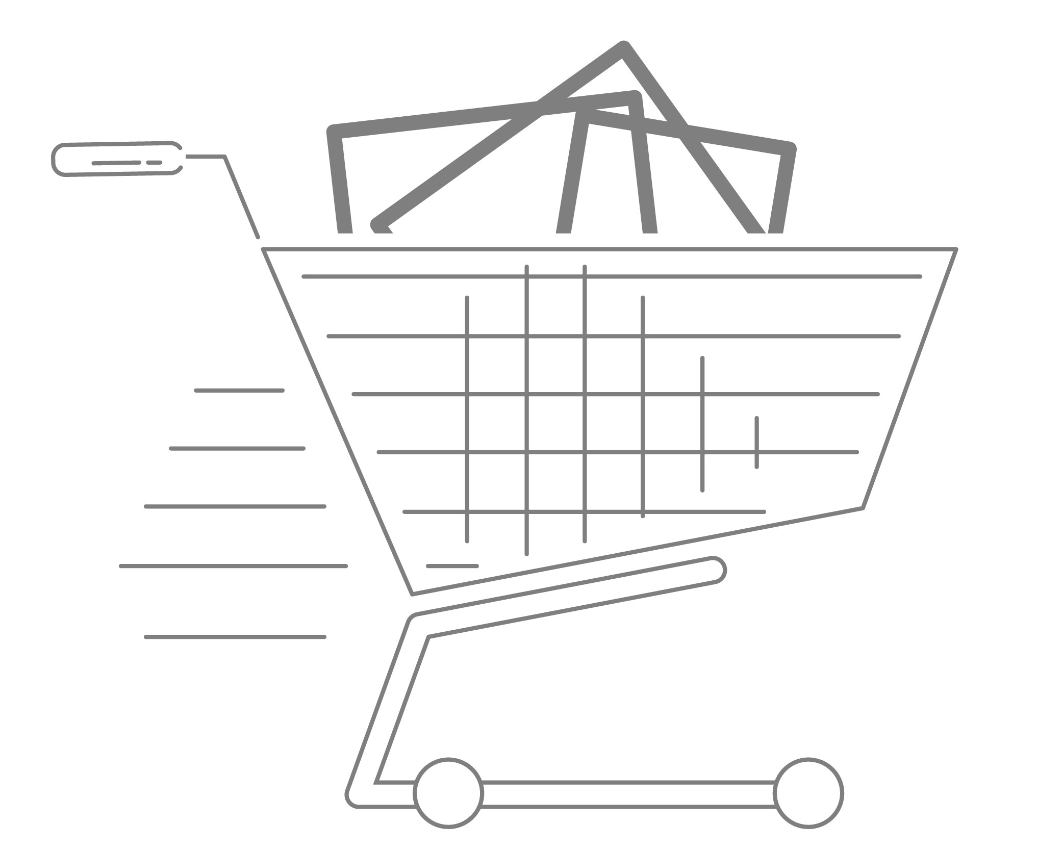 A shopping cart moving