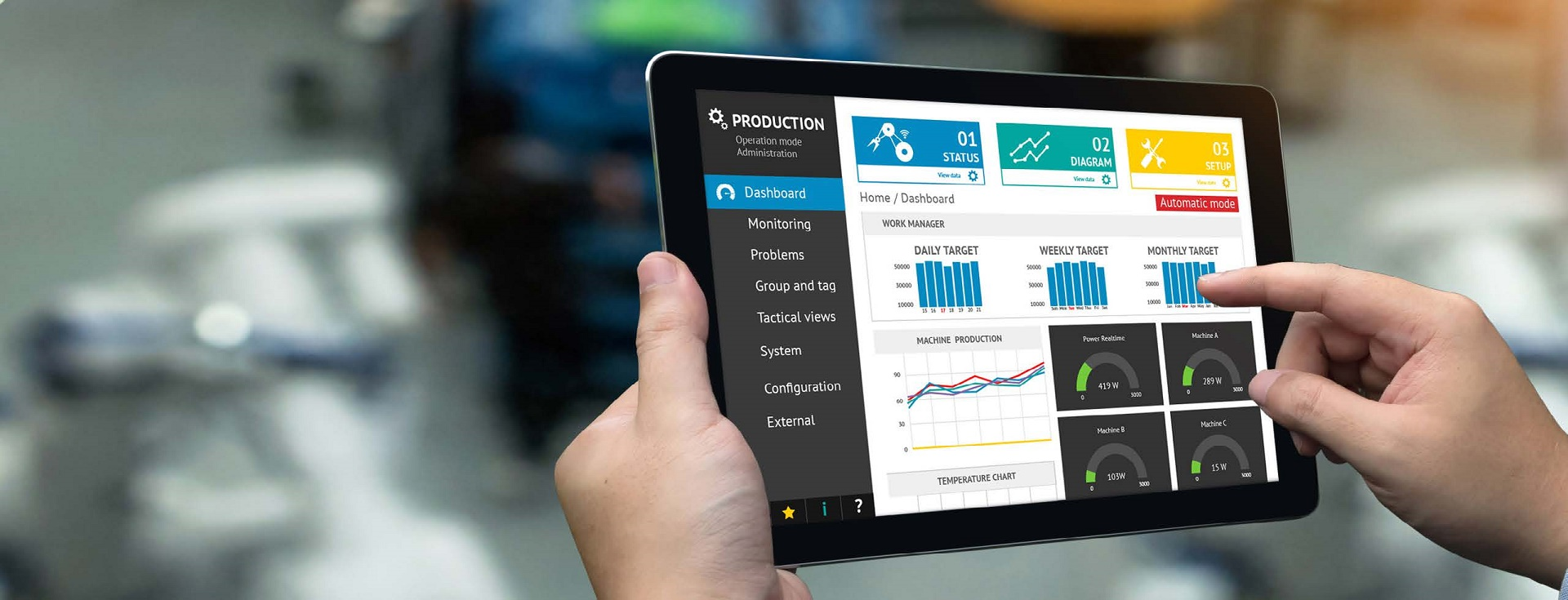 A person's hands holding a tablet that shows a production dashboard with reports