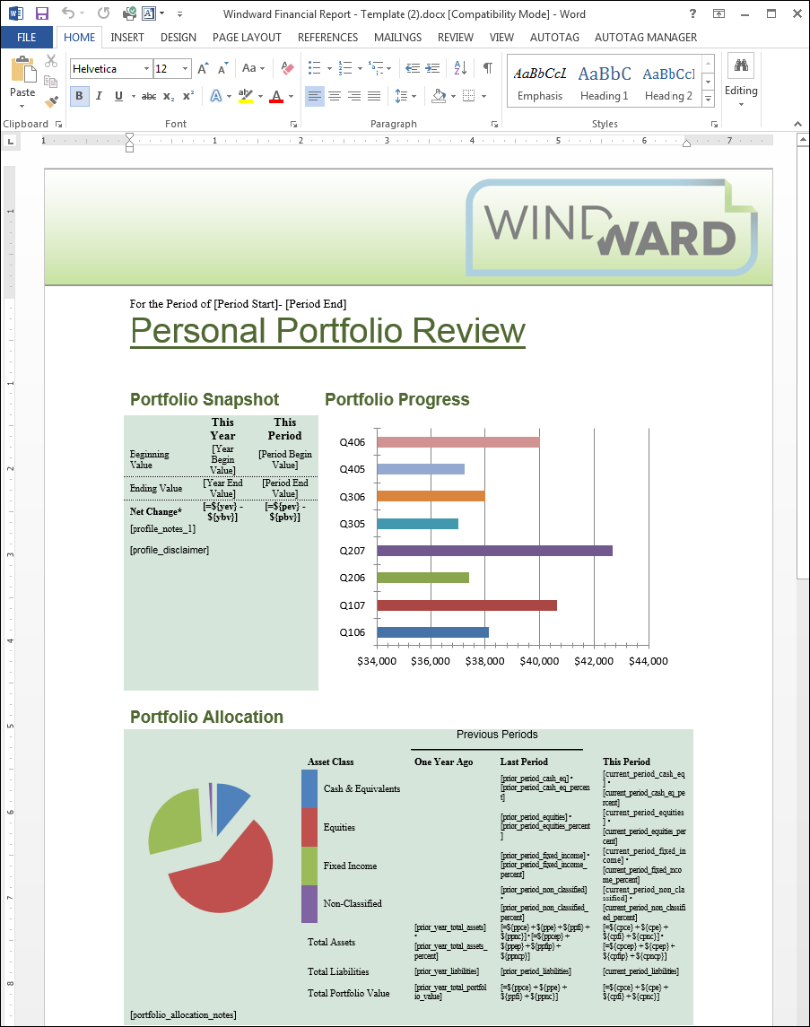 Sample Windward template for a personal portfolio