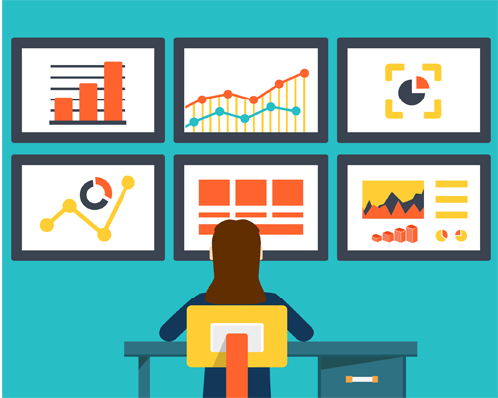 Cartoon person sitting in front of screens showing charts and graphs