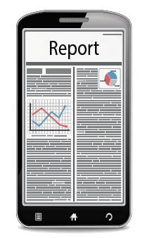 A phone showing a report with graphs and charts