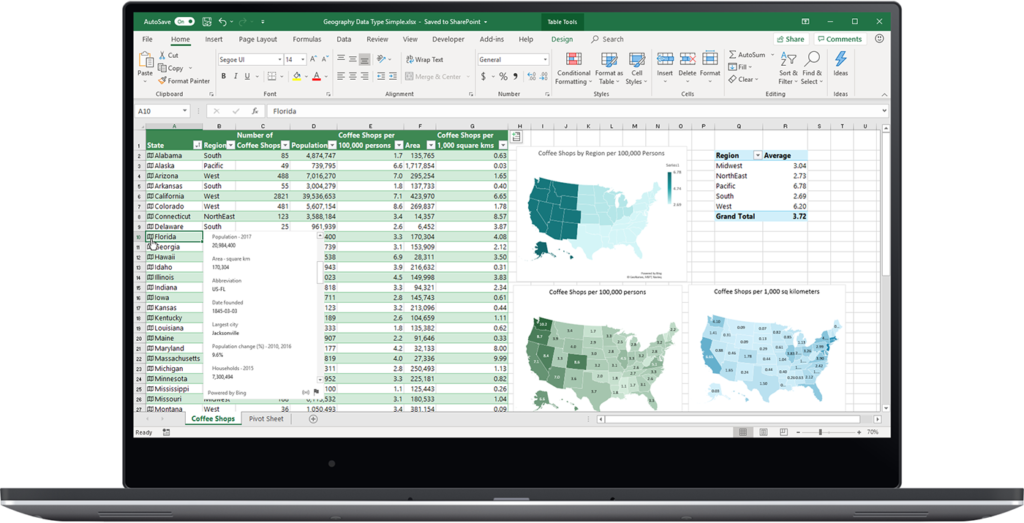 excel template populated with data and maps