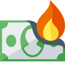 A cartoon of a dollar bill on fire.