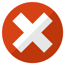 A red circle with a white X in the middle.