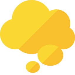 A yellow cartoon thought bubble.