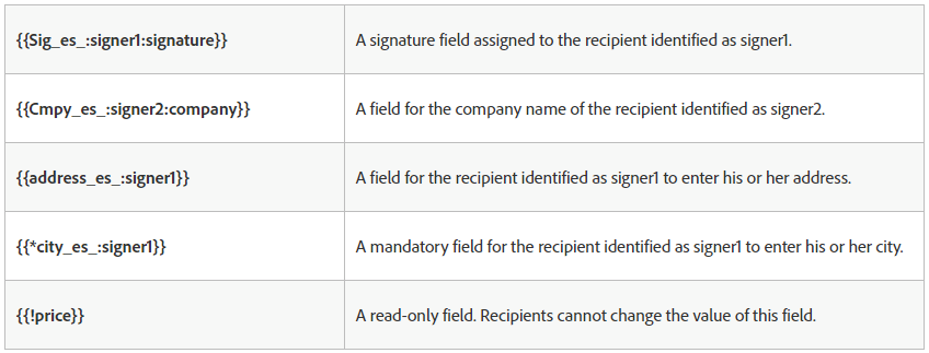 table of adobe sign text tags