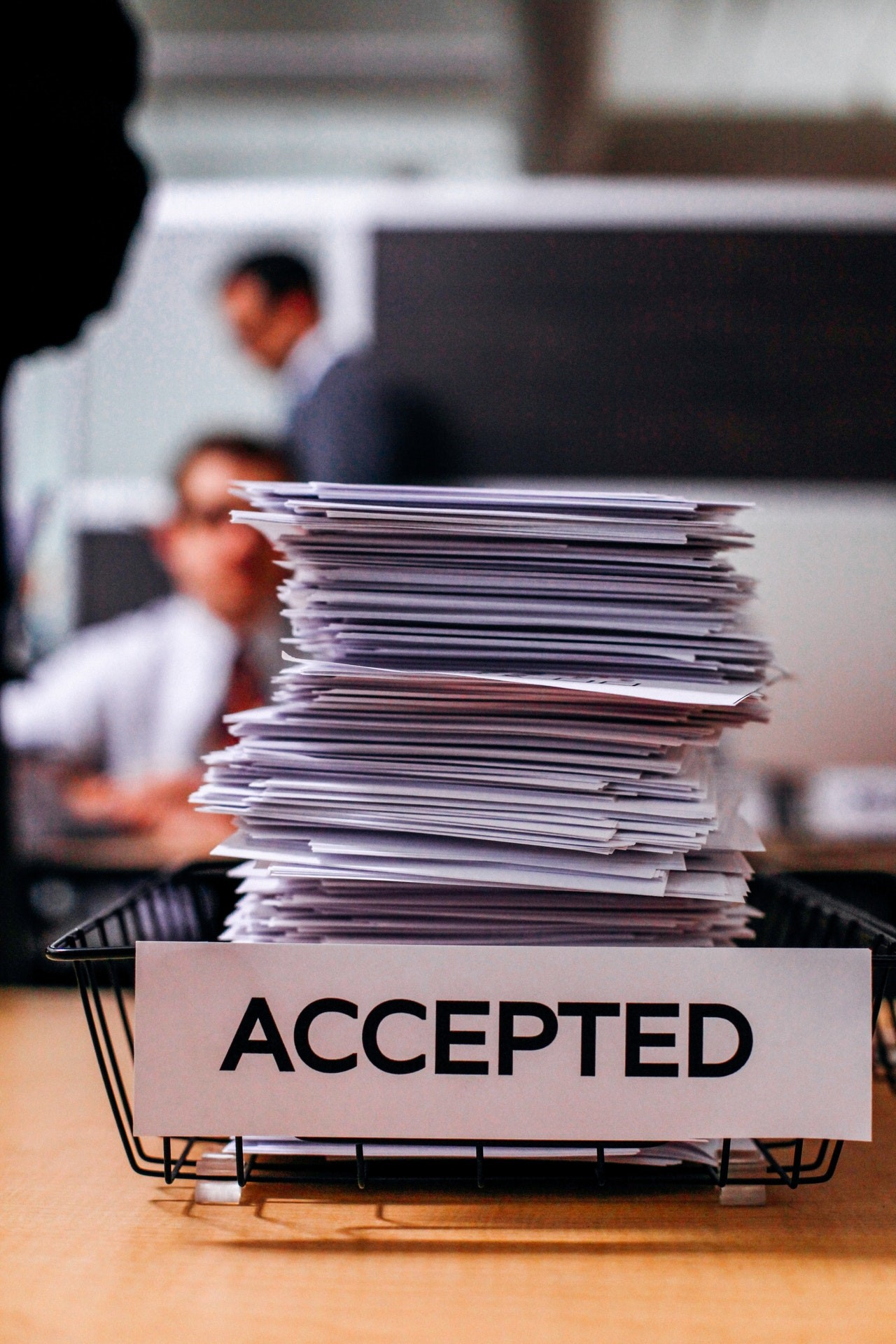 business document software - documents piled up