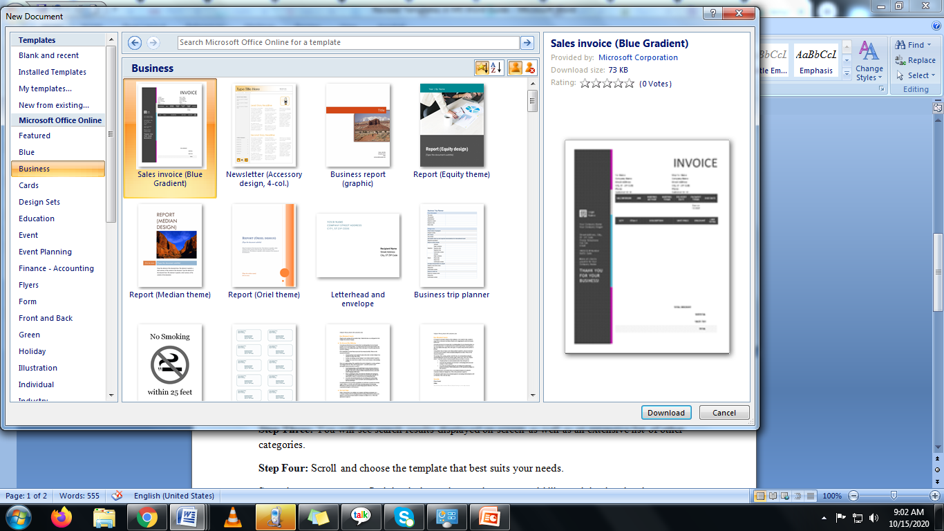 business templates in Microsoft word