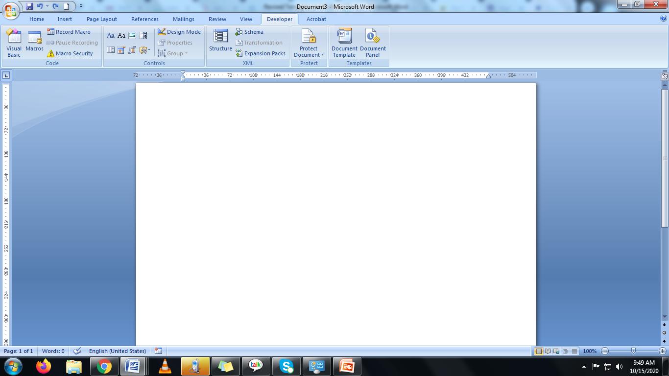 blank document in Microsoft word