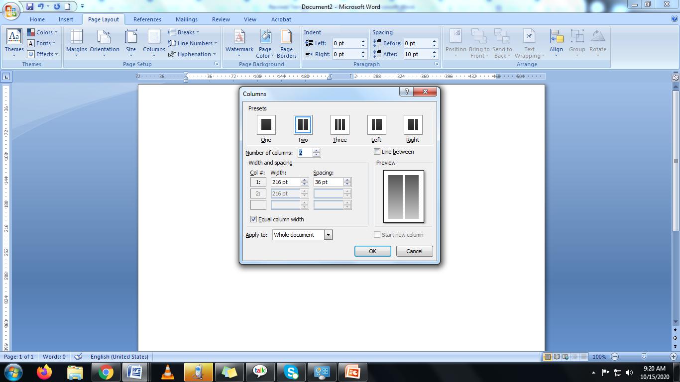 column settings in Microsoft word