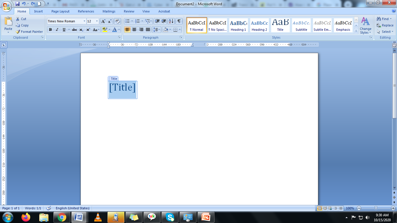 document with a title in Microsoft word
