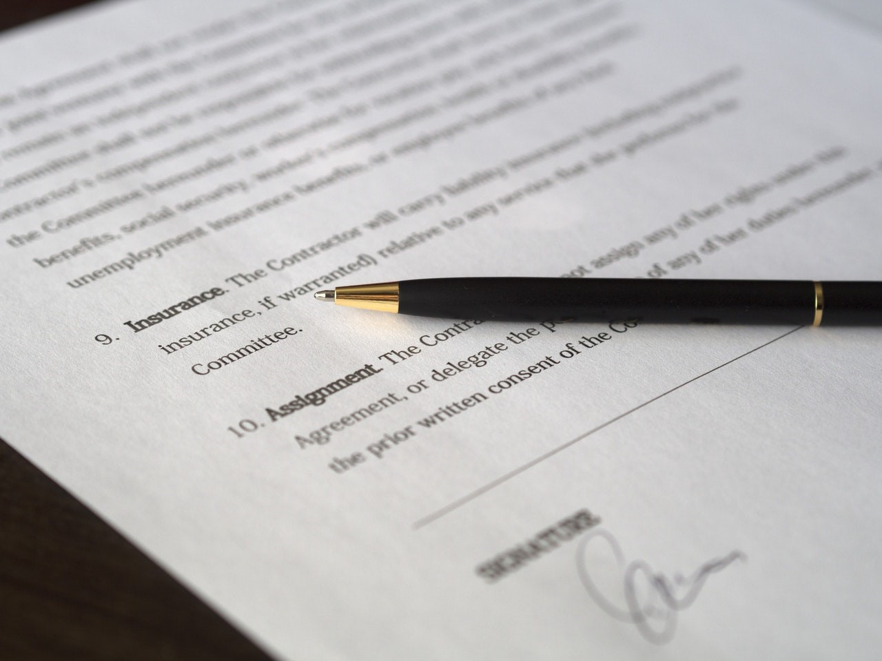 Printed out contract