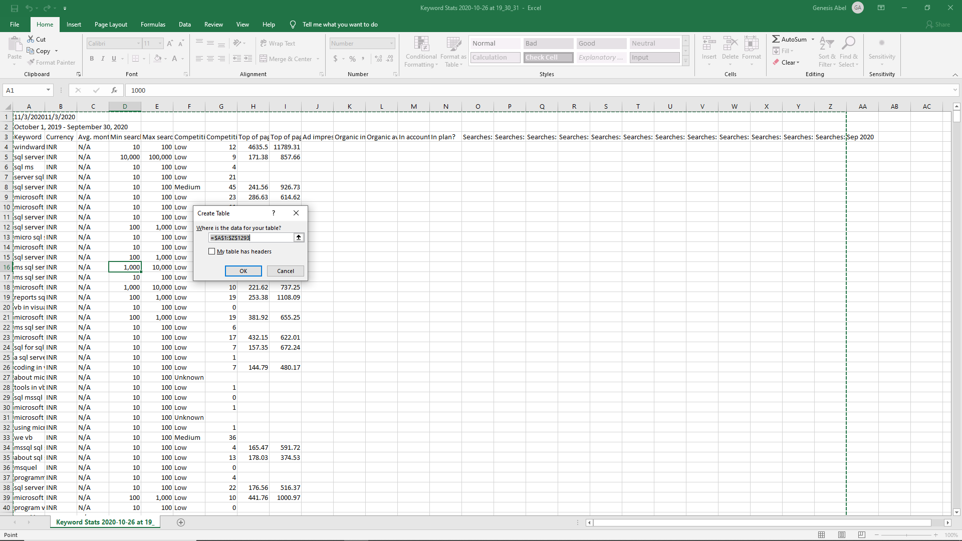Creating a table in Microsoft Excel