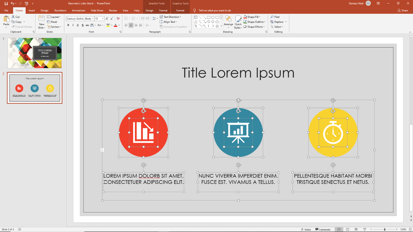 Selecting images and text in Microsoft PowerPoint