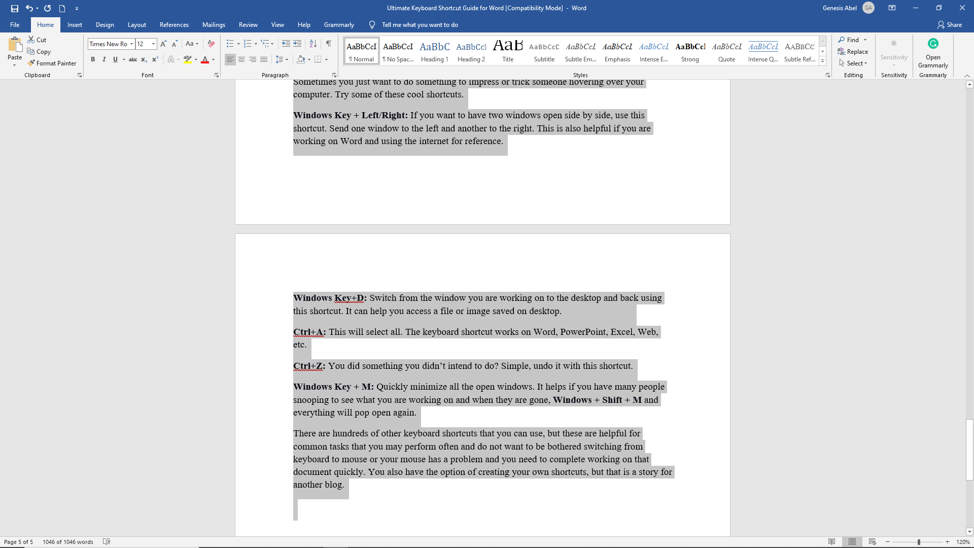 Selecting text in Microsoft Word