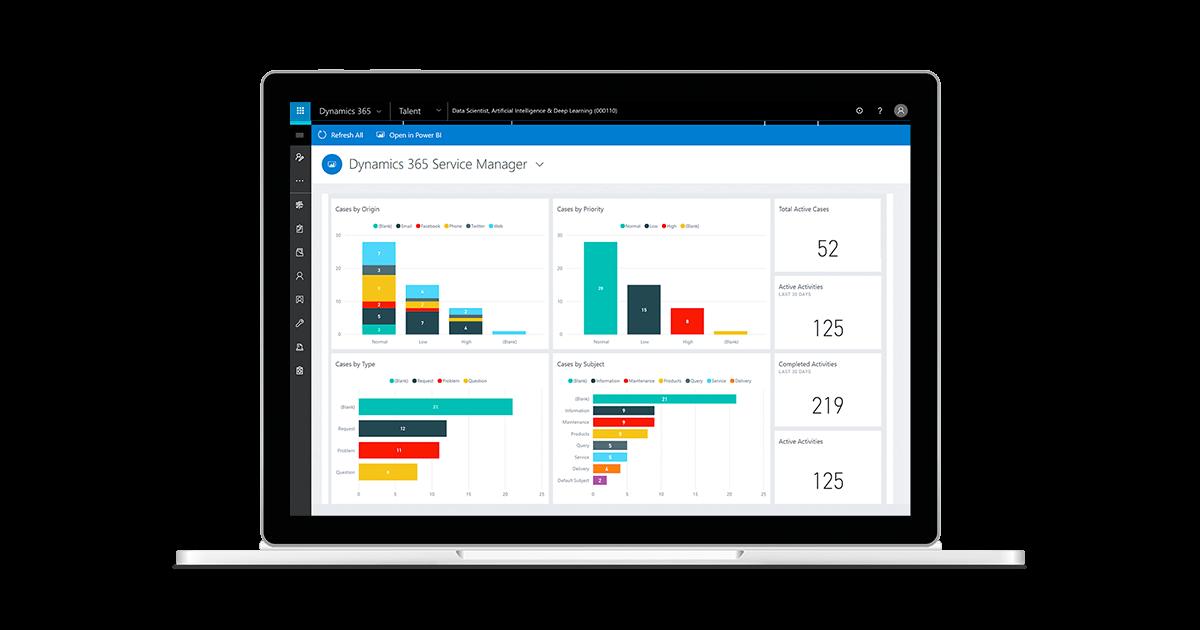 Microsoft Dynamics service manager dashboard