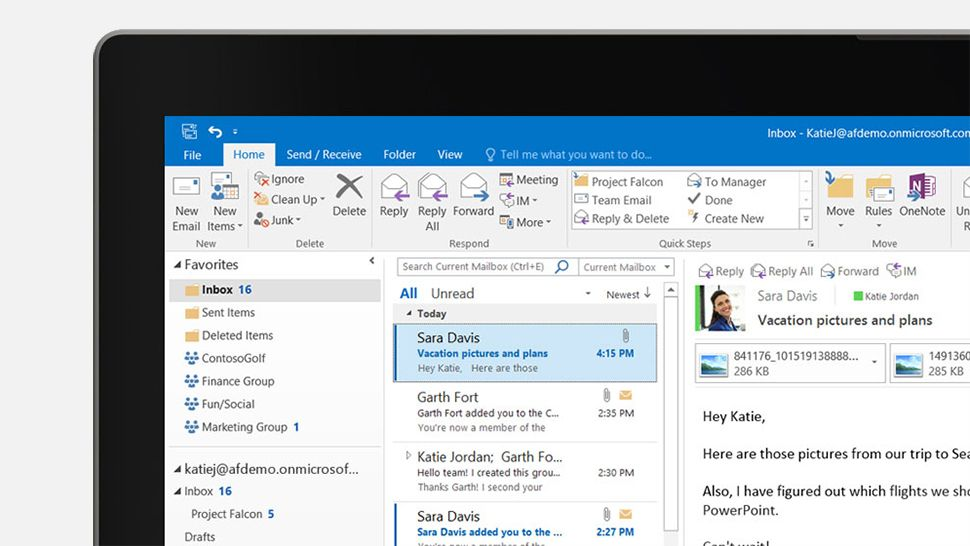 Microsoft Outlook user interface