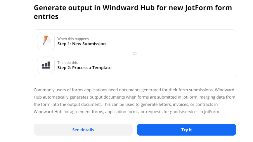 JotForm Zapier integration screenshot to automate form to document