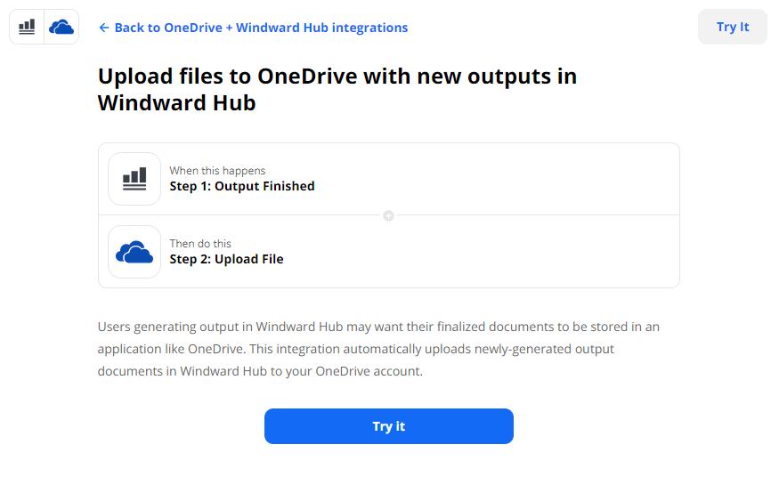 OneDrive integration set up with Windward Hub via Zapier