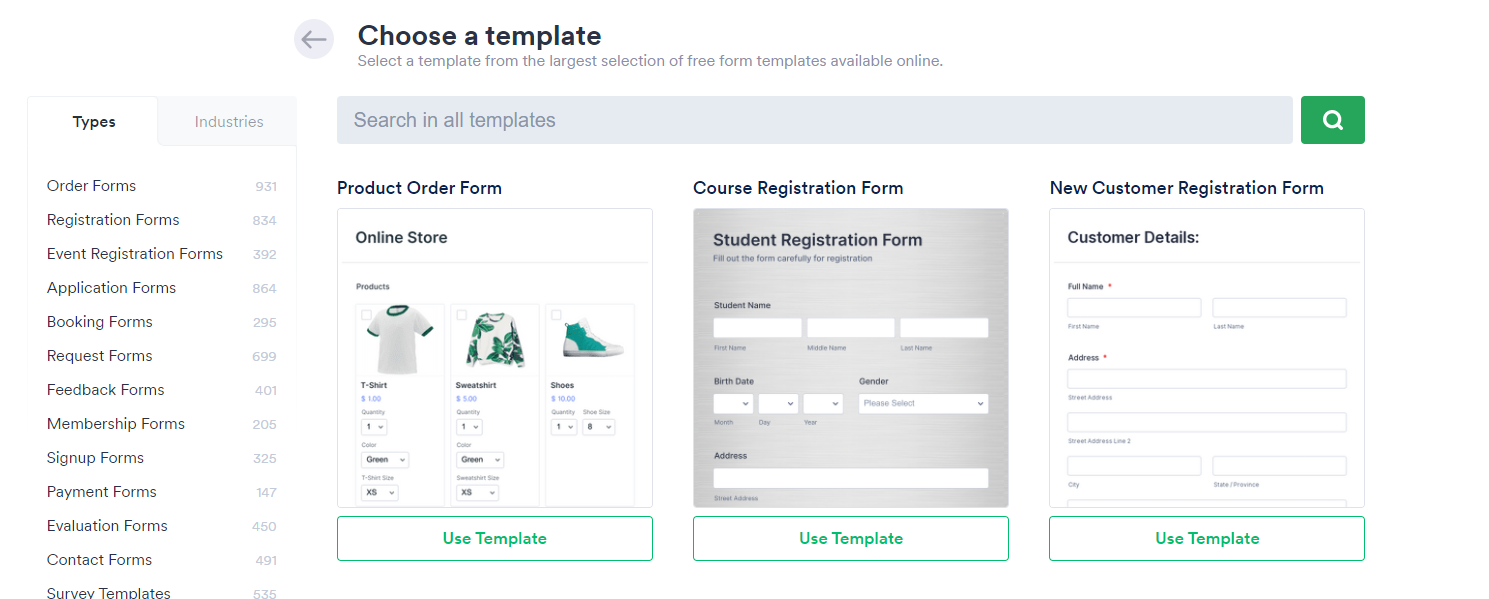 Jotform templates offering different forms on the screen