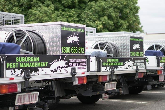 Suburban Pest Management utility vehicles used for transportation