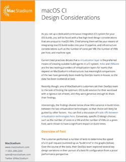 macOS CI Design Considerations White Paper