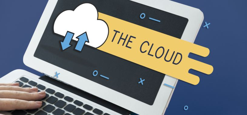 person using laptop displaying imagery for the cloud