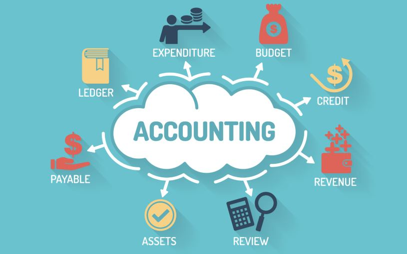 the word accounting in a cloud bubble surrounded by accounting aspects stored in the cloud