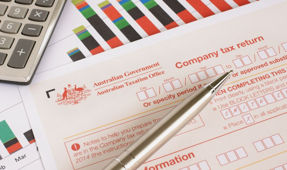 View of the top of an Australian annual company tax return form