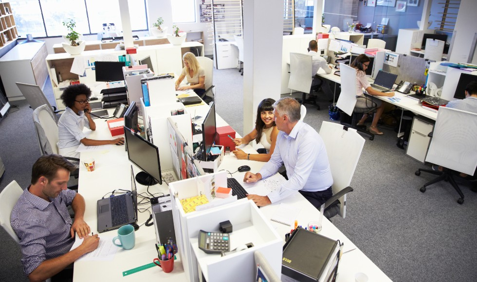 full office of people working