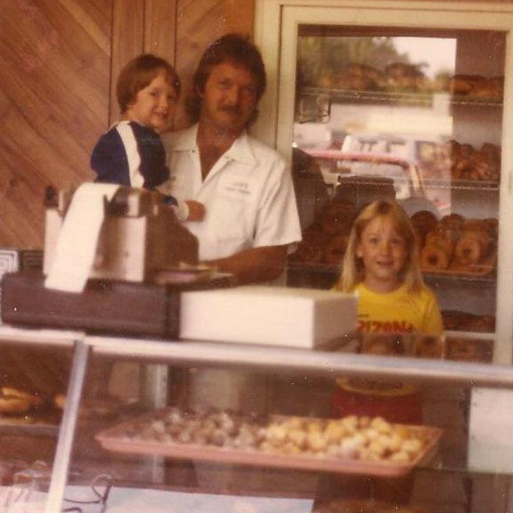 Jack Marcum Jr and his daughters Shannon and Ashley when he bought Jack's from his dad