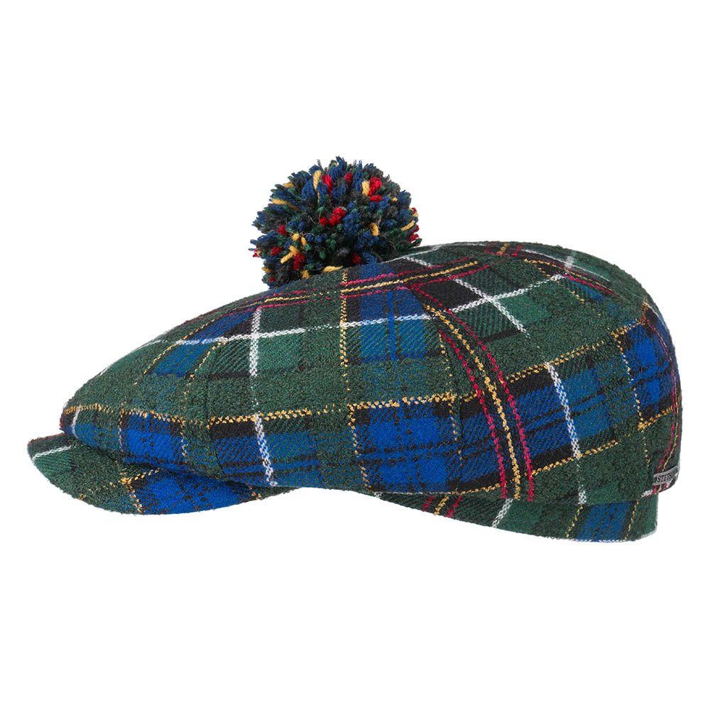 Stetson 8-panel Cap Wool Check Rutig